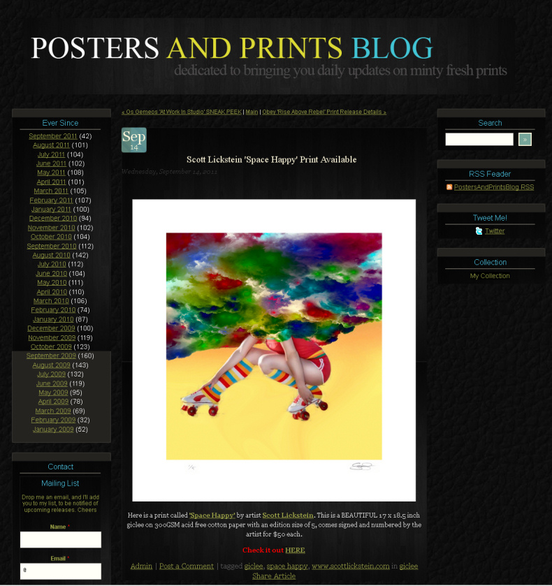 Scott Lickstein - Posters and Prints - 2011