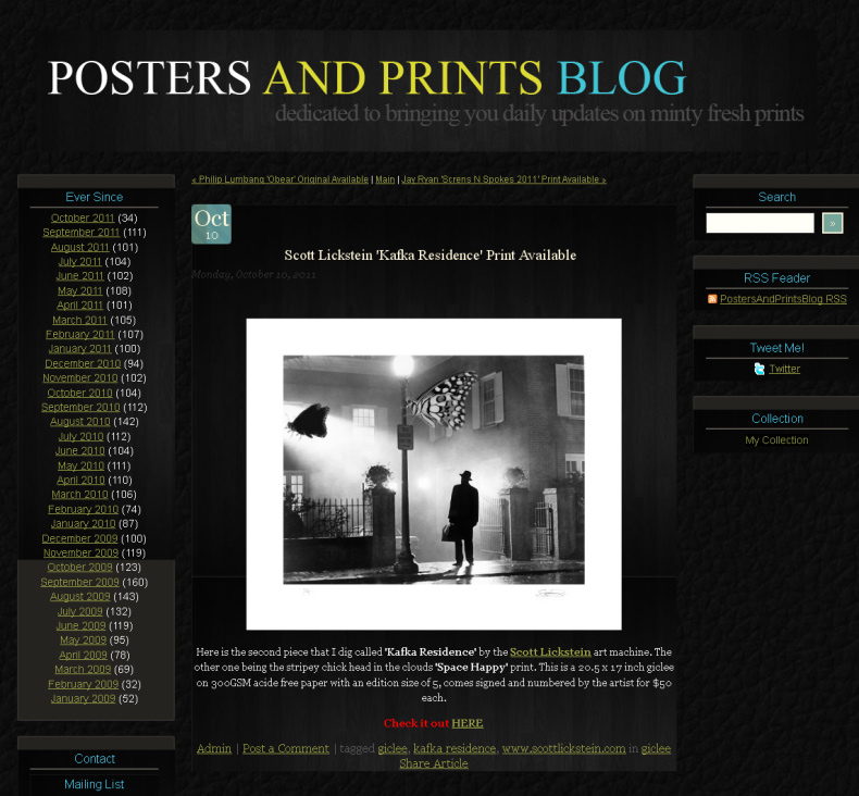 Scott Lickstein - Posters and Prints Blog - 2011